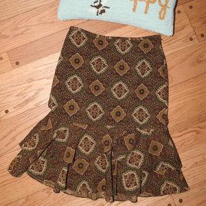 Ann Taylor Loft Brown Pattern Skirt Size 8